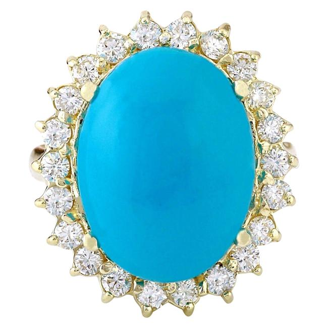 Item - Blue 8.80 Carat Natural Turquoise 14k Solid Yellow Gold Diamond Ring