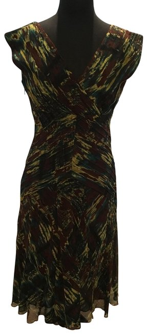 Item - Brown Teal and Pale Green 54050 Mid-length Cocktail Dress Size 4 (S)