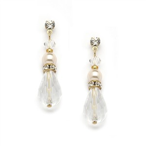 Mariell Crystal Teardrop Wedding Prom Or Bridesmaids Earrings With Ivory & Gold 4079e-i-cr-g