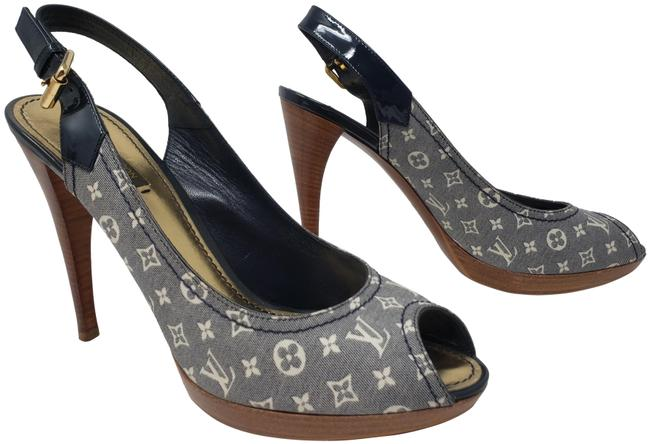 Item - Blue White Monogram Idylle Canvas Peep-toe Sandals Size EU 39.5 (Approx. US 9.5) Regular (M, B)