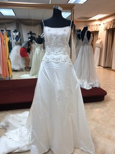 Anjolique Ivory/Silver Satin Gown Formal Wedding Dress Size 10 (M)