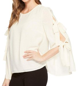 CeCe by Cynthia Steffe Bows Longsleeve Textured Chiffon Keyhole Top Antique White