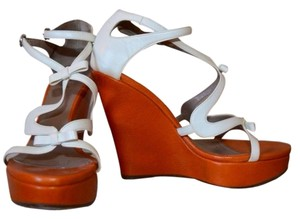 Furla White & Tan Wedges