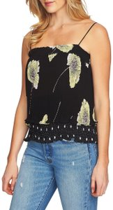 1.STATE Floral Pleated Elastic Spaghetti Straps Tiered Top Black
