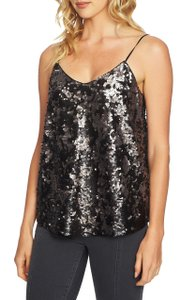 1.STATE Sleeveless Sequin Lined Statement V-neck Top Silver and Black
