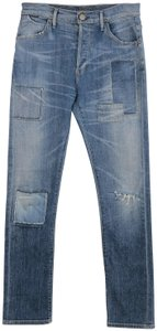 Goldsign Stevie Patchwork Button Fly Straight Leg Jeans