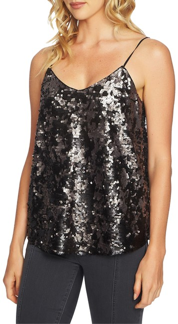 Item - Silver and Black Mottled Sequin Camisole Tank Top/Cami Size 4 (S)