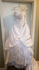 Maggie Sottero Diamond White Satin Mona Lisa Royale Formal Wedding Dress Size 20 (Plus 1x)