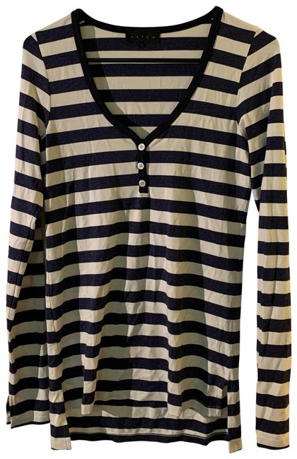 Item - Navy Striped Long Sleeve Henley Maternity Top Size 4 (S)