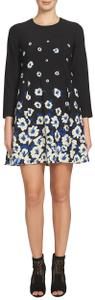 CeCe by Cynthia Steffe Floral Keyhole Jewel Neck Lined 3/4 Sleeve Dress