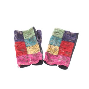 Chanel Multicolor Lace and Leather Fingerless Gloves