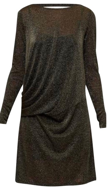 Item - Black & Metallic Gold Sparkle Lurex Draped Mini Long Sleeve Short Cocktail Dress Size 8 (M)