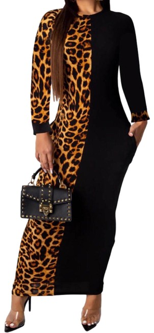 Item - Black & Leopard Color Long Casual Maxi Dress Size 10 (M)