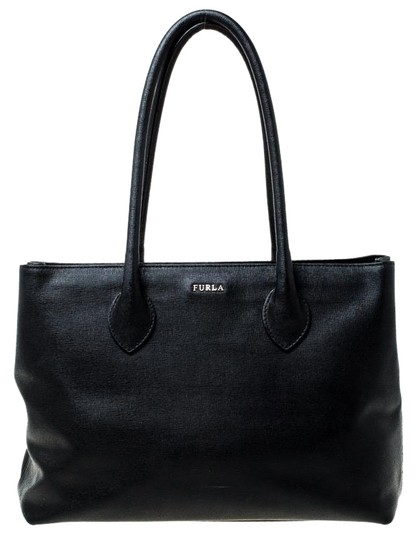 Furla Leather Fabric Tote in Black Image 0