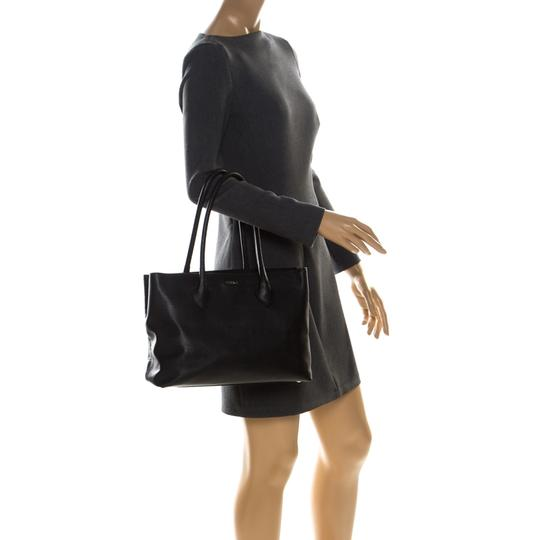Furla Leather Fabric Tote in Black Image 2