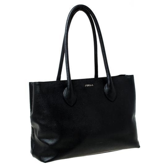 Furla Leather Fabric Tote in Black Image 5