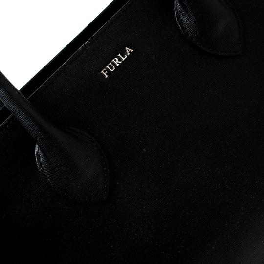 Furla Leather Fabric Tote in Black Image 8