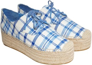 Tory Burch Check Crochet Braided Wedge Blue, White Platforms