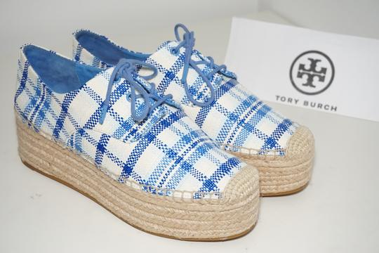 Tory Burch Check Crochet Braided Wedge Blue, White Platforms Image 1