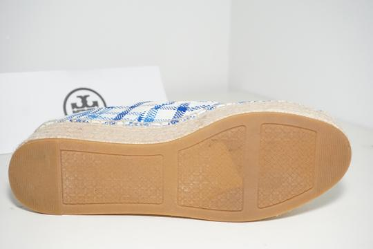 Tory Burch Check Crochet Braided Wedge Blue, White Platforms Image 10