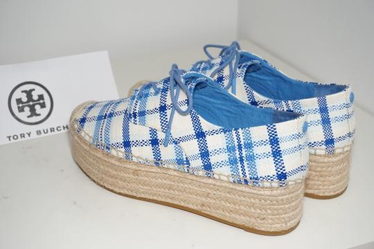 Tory Burch Check Crochet Braided Wedge Blue, White Platforms Image 2