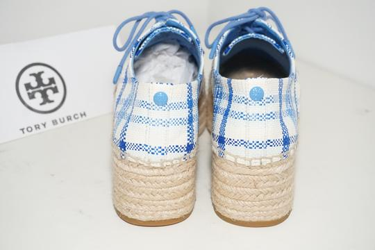 Tory Burch Check Crochet Braided Wedge Blue, White Platforms Image 3