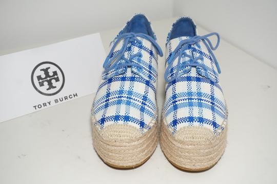 Tory Burch Check Crochet Braided Wedge Blue, White Platforms Image 4