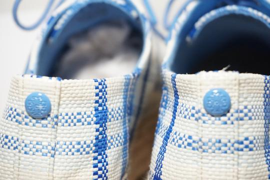Tory Burch Check Crochet Braided Wedge Blue, White Platforms Image 5