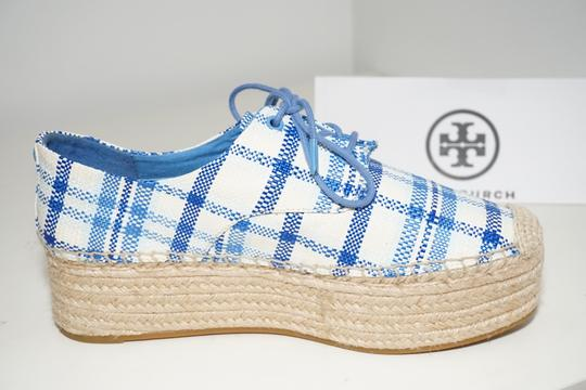 Tory Burch Check Crochet Braided Wedge Blue, White Platforms Image 7
