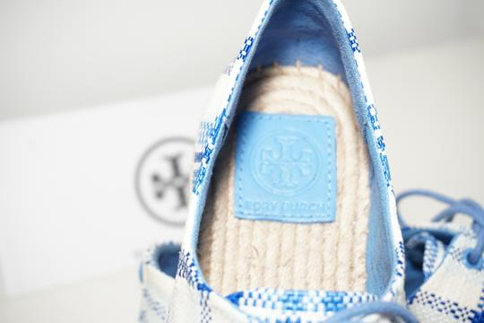 Tory Burch Check Crochet Braided Wedge Blue, White Platforms Image 8