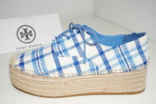 Tory Burch Check Crochet Braided Wedge Blue, White Platforms Image 9