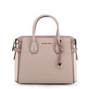 Michael Kors Pebbled Leather Color-blocked Belted Satchel in Pink