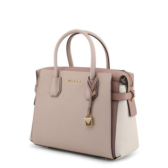 Michael Kors Pebbled Leather Color-blocked Belted Satchel in Pink Image 1