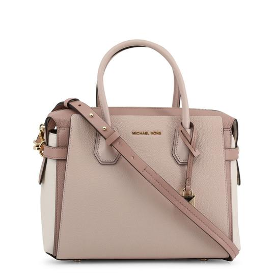 Michael Kors Pebbled Leather Color-blocked Belted Satchel in Pink Image 3