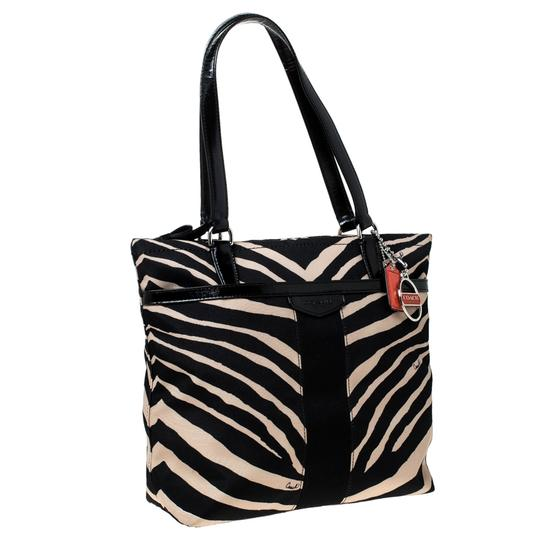 Coach Canvas Patent Leather Tote in Black Image 3