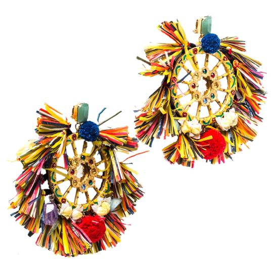 Dolce&Gabbana Dolce and Gabbana Multicolor PomPom & Tassel Over-sized Earrings Image 1