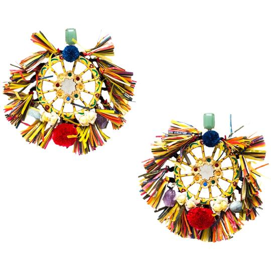 Dolce&Gabbana Dolce and Gabbana Multicolor PomPom & Tassel Over-sized Earrings Image 2