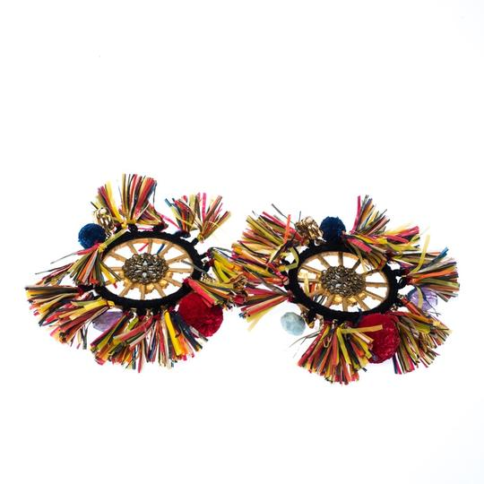 Dolce&Gabbana Dolce and Gabbana Multicolor PomPom & Tassel Over-sized Earrings Image 3