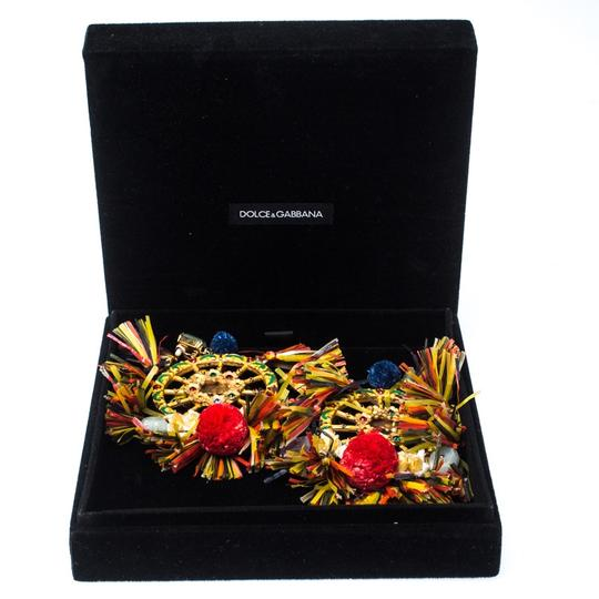 Dolce&Gabbana Dolce and Gabbana Multicolor PomPom & Tassel Over-sized Earrings Image 5