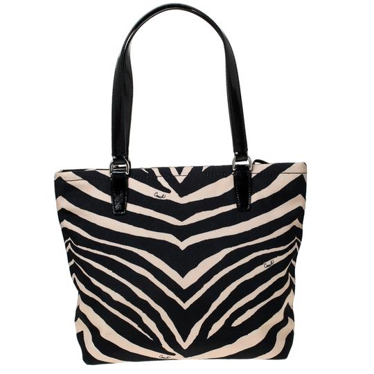 Coach Canvas Patent Leather Tote in Black Image 1