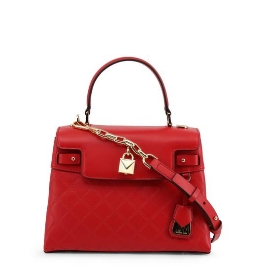 Michael Kors Leather Chain-embossed Chain Strap Gramercy Satchel in Red Image 3