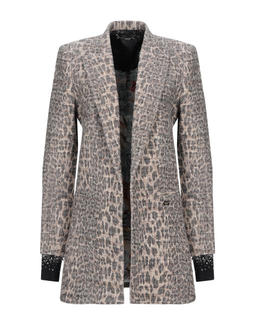 Preload https://img-static.tradesy.com/item/26116150/philipp-plein-khaki-tweed-logo-leopard-print-jacket-size-4-s-0-0-650-650.jpg