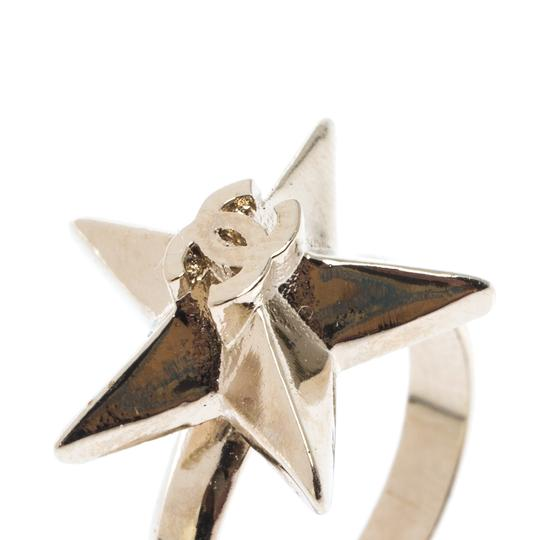 Chanel CC Star Gold Tone Ring Size 50.5 Image 2