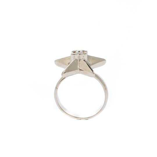 Chanel CC Star Gold Tone Ring Size 50.5 Image 3