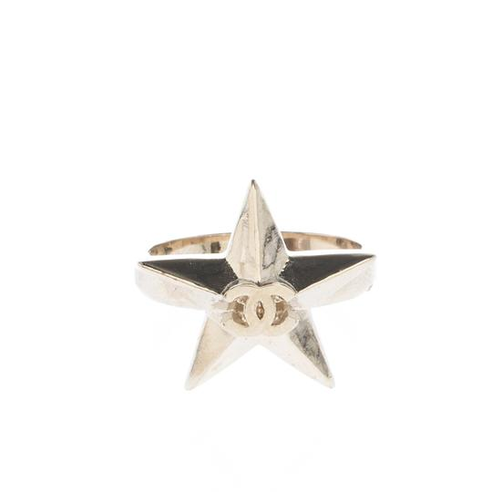 Chanel CC Star Gold Tone Ring Size 50.5 Image 4
