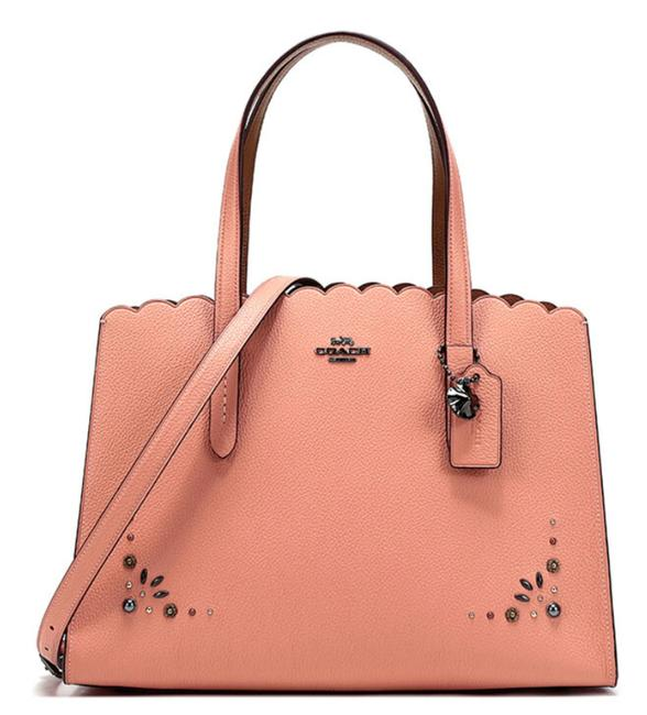 Item - Charlie New Studs Rivets Jewelled Logo Tote Scalloped Satchel Dark Blush Leather Cross Body Bag