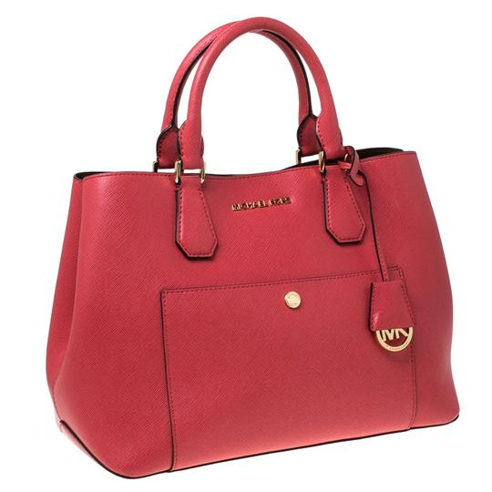 Michael Kors Leather Tote in Red Image 7