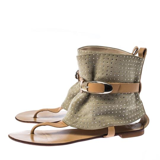 Giuseppe Zanotti Suede Embellished Ankle Green Sandals Image 3