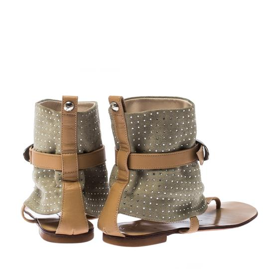 Giuseppe Zanotti Suede Embellished Ankle Green Sandals Image 4