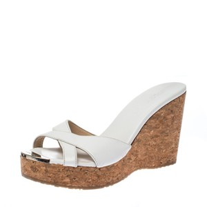 Jimmy Choo Leather Wedge Platform White Sandals